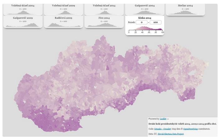 Výsledky II. kola prezidentských volieb 2004, 2009 a 2014 podľa obcí