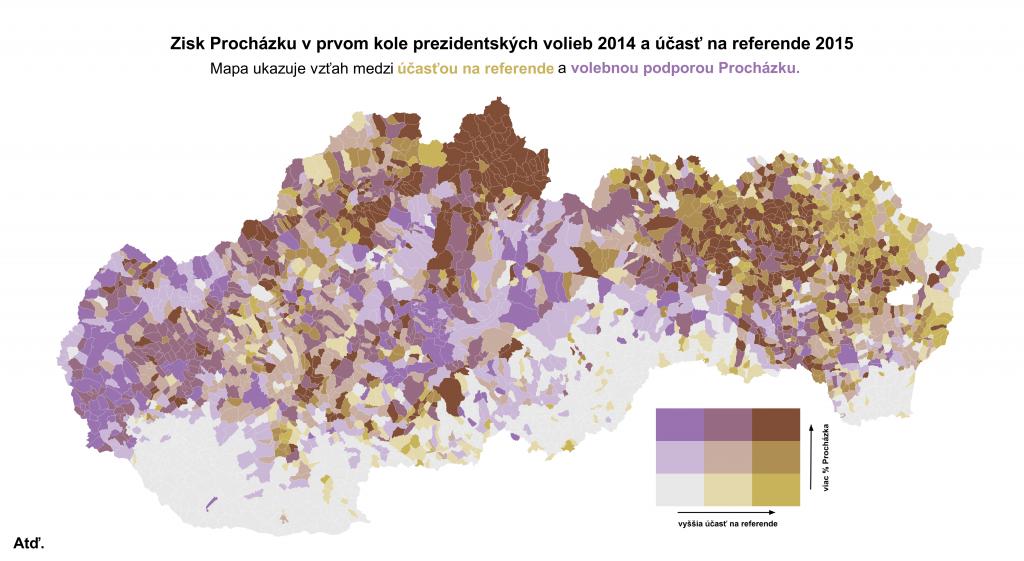 Účasť na referende a podpora Procházku na jednej mape