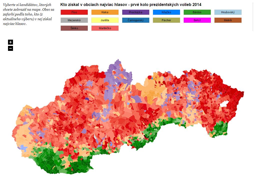 Kto získal v obciach najviac hlasov - prvé kolo prezidentských volieb 2014